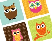 Digital Collage Sheet 1-inch square OWL graphics for magnets, badges, bottle cap art