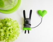 Bunny Brooch - I have a Green Heart