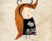 Illustration Print, Aries Girl, Zodiac Art, Zodiac Aries