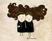 Illustration Print Gemini - Astrology - Twins - Wall art - Nursery room