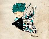 Pisces zodiac print - Boy and fish - Boy room art - Illustration