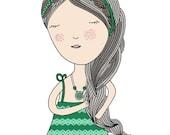 Girl Illustration, Art Print, Girl Nursery Art, Children Room Decor, Mint