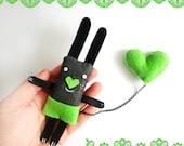 Bunny Brooch - I have a Green Heart