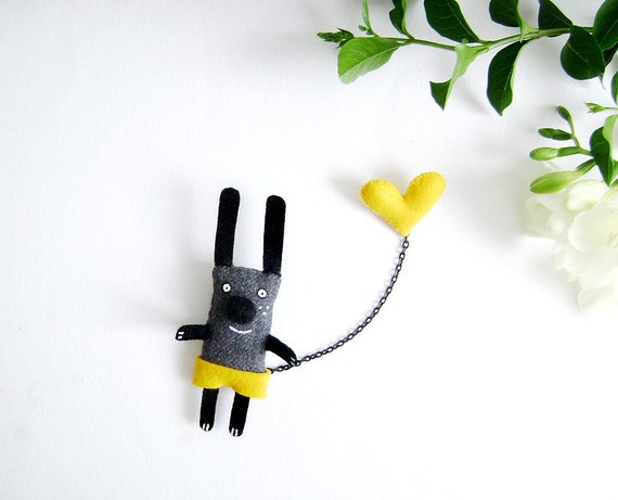 Bunny Brooch - I have a Yellow Heart