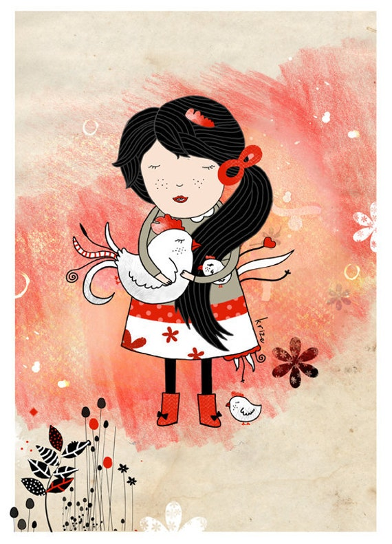 Girl with chicken - Farm animal. Animal illustration print. Nursery room.
