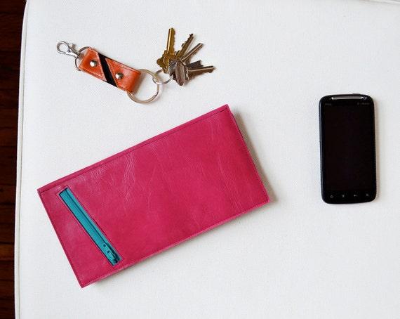 The Stella Slim Travel Wallet Clutch in Hot Pink