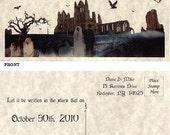 qty 50 Halloween spooky Gothic Wedding Favors Save The Date Post Cards