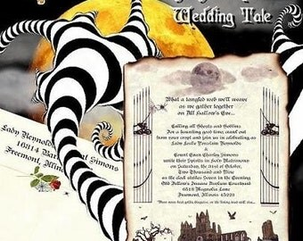 qty 25 Graveyard Halloween Gothic Wedding Invitations Scroll