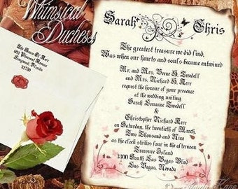 qty 50 Butterfly Wedding Scroll Invitations Whimsical Duchess Theme