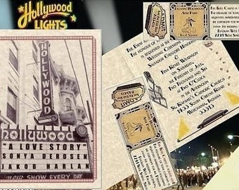 HOLLYWOOD Movie STAR Favors LOVE Wedding Invitations Thank You Cards Response Cards Reception Tickets 100 Package