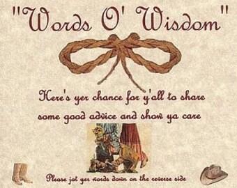 Western Wedding Favors Cowboy Advice Cards qty 200