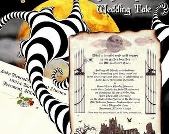 Graveyard Halloween Wedding Invites, birthday, sweet 16, anniversary, party, Scroll Invitations Scroll and Response Cards Package 150