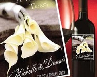 qty 12 Wedding Favors Wine Labels Calla Lilly Theme