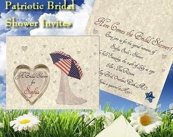 Patriotic Military Theme Bridal Shower Invitations 25 qty