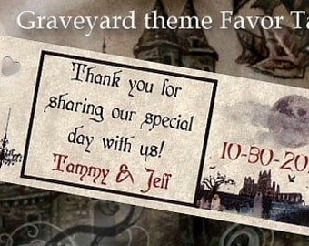 qty 100 Graveyard Halloween Wedding Reception Favors Favor Tags