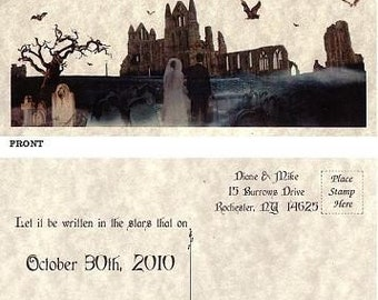 qty 75 Halloween Party Gothic Wedding Favors Save The Date Post Cards