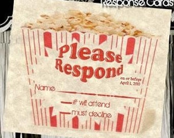 50 Hollywood Movie Wedding Favor Response Cards and Envelopes Style C