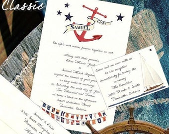 qty 200 Nautical Wedding invites, birthday, sweet 16, anniversary Invitations CLASSIC Anchor Sailing Ocean