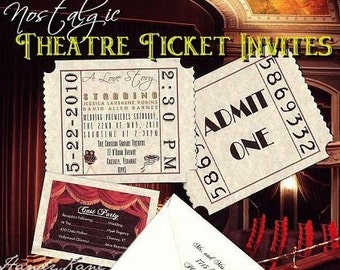qty 75  Wedding Invitations Hollywood Movie Tickets, Reception Cards, Response Cards RSVP and Thank You Cards Package Deal