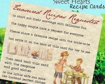 Wedding Favors Recipe Cards Boy and Girl Theme qty 50