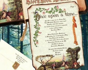 Wedding invites birthday, sweet 16, anniversary, party, Invitations Storybook fairy tale cinderella Scroll Package qty 125