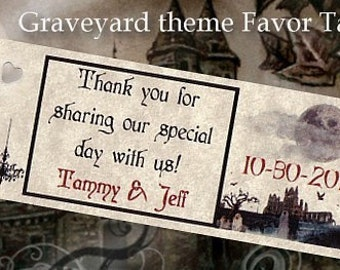 Graveyard Halloween Wedding Favors Favor Tags qty 150