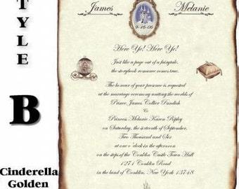 qty 200 Royal Cinderella Renaissance Wedding Invites, birthday, sweet 16, anniversary, scroll Invitations and response cards