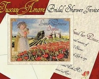 qty 50 Tuscan Amore Italian Wedding Bridal Shower Invitations