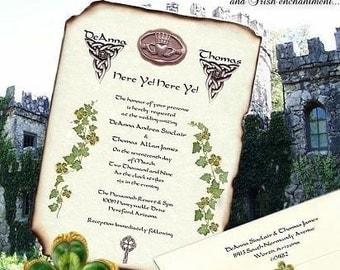 qty 150 Irish Claddagh Celtic Clover Wedding Scroll Invitations and RSVP Cards St Patrick's Day IRELAND scrolls addressed envelopes seals