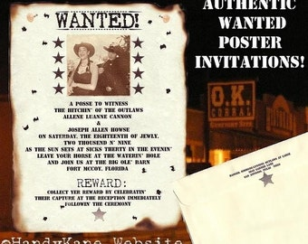 qty 150 Photo Wanted poster Western Cowboy Wedding Invitations and Response RSVP Cards