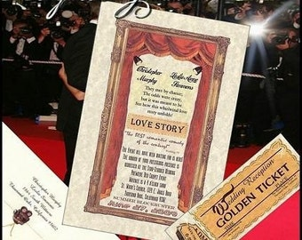 Qty 200 Hollywood Glamore Movie Wedding Invitations and 200 RSVP Cards w/ envelopes Special 50% off