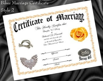 BIKER Motorcycle WEDDING favors Marriage Certificate Style B