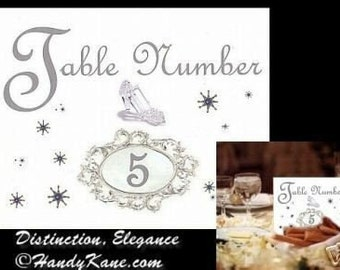 Wedding Cinderella Place Table Number ring cards Wedding, party, sweet 16, birthday, anniversary favors