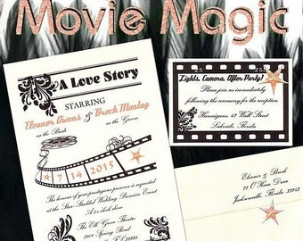 qty 100 UNIQUE Hollywood MOVIE MAGlC glamour pink Star Wedding invitations tickets Sweet 16, film reel cell Old fancy Cinema response cards