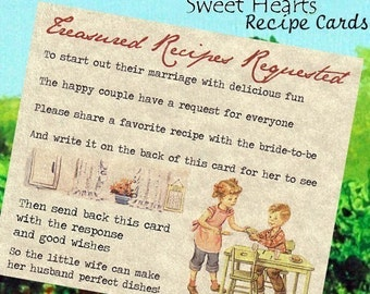 Qty 50 Boy and Girl Recipe Cards wedding favors bridal shower favors