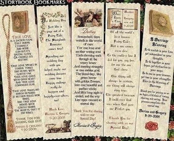 Wedding Favors Storybook Fairytale Bookmarks Favor qty 130