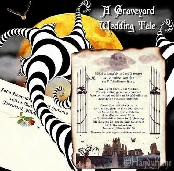 Items similar to Graveyard Halloween Wedding Invites, birthday ...