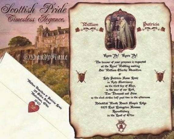 Wedding Invites Scotland: Qty 50 Scottish Wedding Invitations Scrolls Scotland Highland