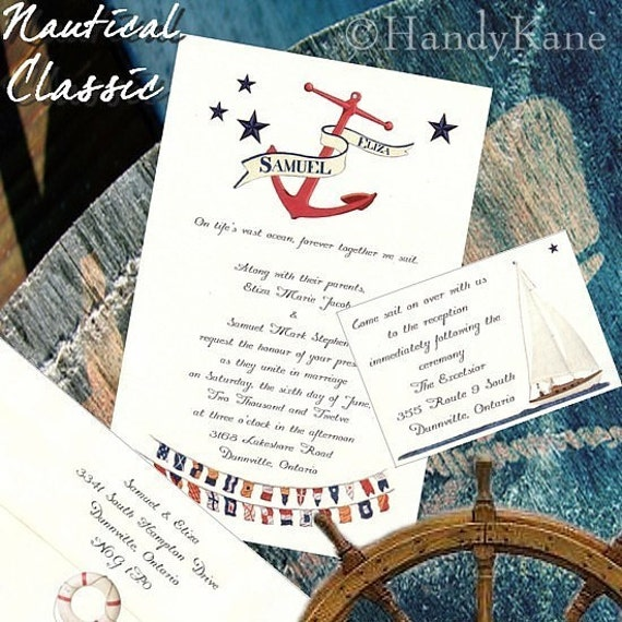 Qty 200 Nautical Wedding Invites Birthday Sweet 16