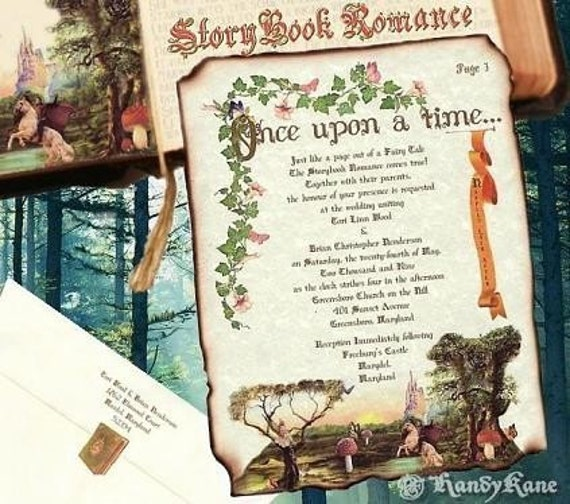 qty 75 Wedding Invitations Storybook fairy tale cinderella Scroll Reception Tickets Response RSVP Cards Thank You Cards Package