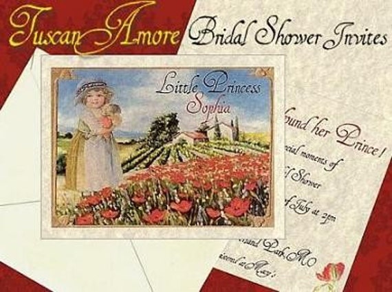 Tuscan Themed Wedding Invitations: Qty 50 Tuscan Amore Italian Wedding Bridal Shower Invitations