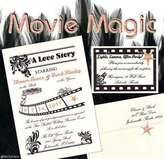 qty 50 Package Hollywood MOVIE MAGlC glamour pink Star Wedding invitations tickets Sweet 16, film reel cell Old fancy Cinema response cards