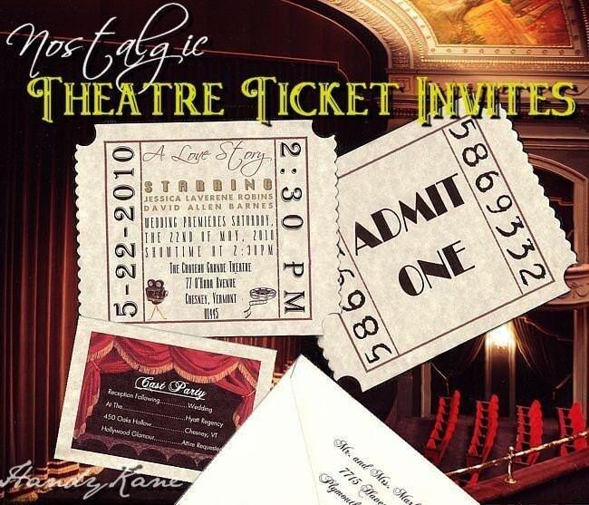 UNIQUE Movie Star Hollywood Theatre Cinema TICKET Wedding