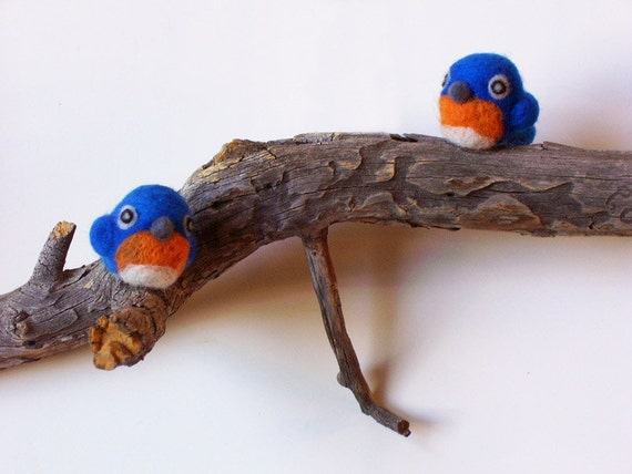 Needle Felted Blue Birds on Tree Branch Home Decor Wall Art