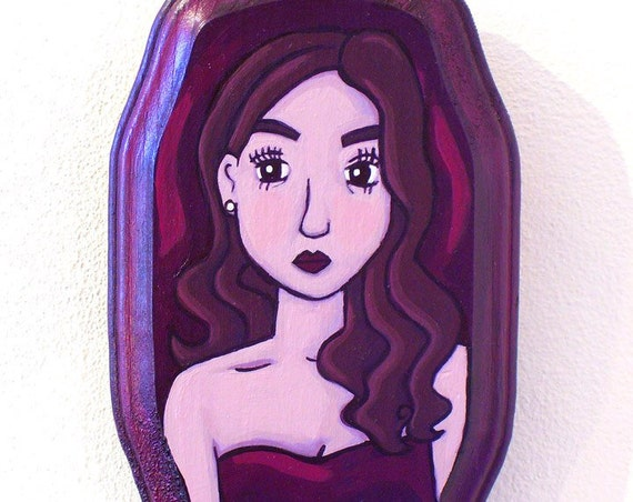 Acrylic Painting - Scarlet Girl - Original Art on Wood 3 by 5 Inches