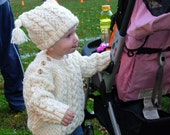 Infants Irish Knit Sweater and Hat