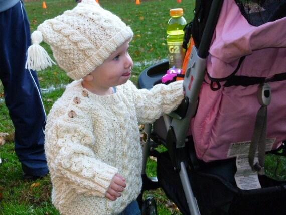 Infants Irish Knit Sweater and Hat