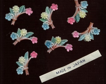 Japan VINTAGE Plastic Flower Bouquet Cabochon Cabs Hand Painted Jewelry Findings lot