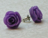 Rose Flower Earrings - Lavender Purple