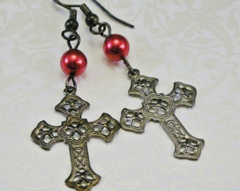 Goth Noir Filigree Cross Earrings
